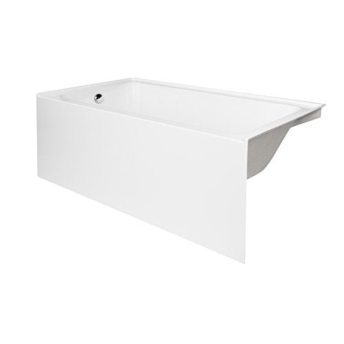 "MAYKKE Pensacola 60"" Rectanglar Alcove Acrylic Bathtub Recessed Soaking Tub in Bathroom, Shower Left Hand Drain, cUPC certified White XDA1415001"
