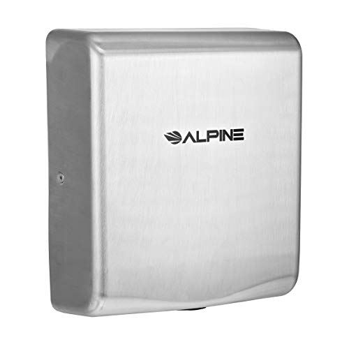 Alpine Industries Willow High-Speed Commercial Hand Dryer, Stainless Steel, 120V - Heavy Duty Electric Wall Handdryer for Office, Restaurant, Mall & Business Restrooms & Bathrooms