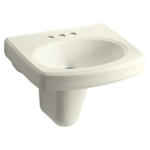 "KOHLER K-2035-4-96 Pinoir Wall-Mount Bathroom Sink with 4"" Centers, Biscuit"