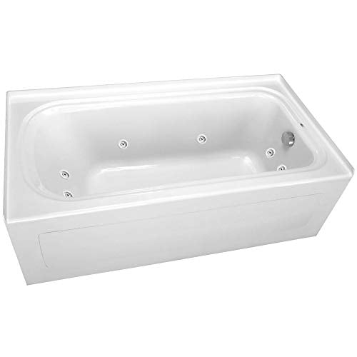 "PROFLO PFW6042ARSKWH 60"" x 42"" Alcove 8 Jet Whirlpool Bath Tub with Skirt, Right Hand Drain and Right Hand Pump"