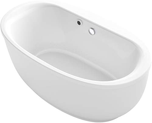"KOHLER K-1967-G-0 Sunstruck 66"" x 36"" Oval Freestanding BubbleMassage Air Bath with Fluted Shroud, White"