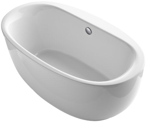 KOHLER K-6369-0 Sunstruck 66-Inch X 36-Inch Oval Freestanding Bath with Fluted Shroud and Center Drain, White, 1-Pack