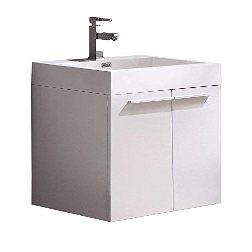 Fresca Alto White Modern Bathroom Cabinet with Integrated Sink (Renewed)