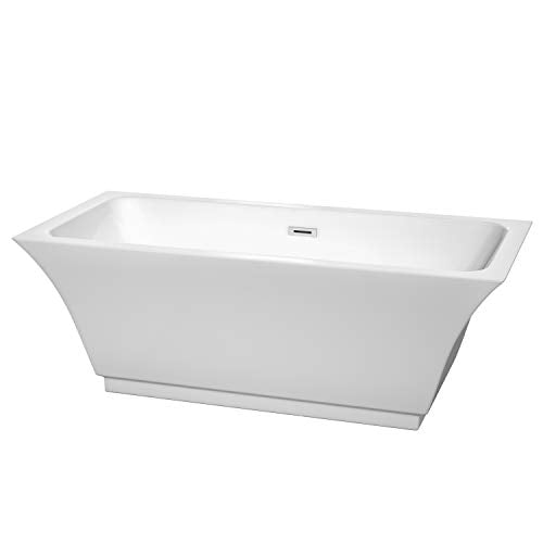 Wyndham Collection Galina 67 inch Freestanding Bathtub for Bathroom in White with Polished Chrome Drain and Overflow Trim