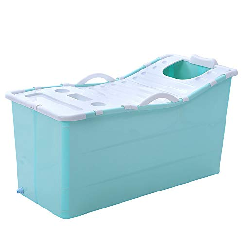 Ybriefbag-Home Large Foldable Bath Tub Bathtub Swimming Pool for Adult Children Baby,Long Insulation Time with Lid (Color : Blue, Size : 107x63x52.5cm)