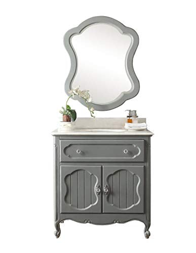 "34"" Knoxville Victorian Shabby Chic Gray Bathroom Vanity & Mirror GD-1533CK-MIR"
