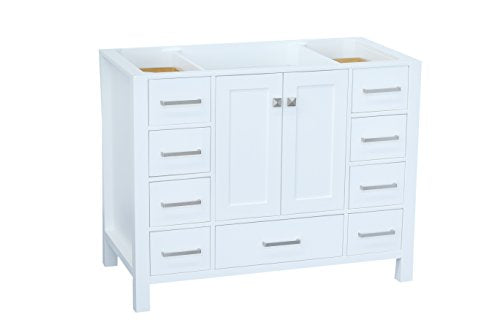 "ARIEL Cambridge A043S-BC-WHT 42"" Inch Single Solid Wood White Bathroom Vanity Base Cabinet with 2 Soft-Closing Doors and 9 Self-Closing Drawers"