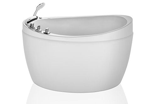 Empava 48 in. Acrylic Freestanding Air Bathtub Hydrotherapy Oval Japanese SPA Tub EMPV-JTX011, White