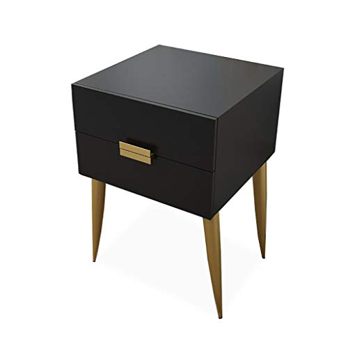 Bedside Cabinet, Simple Side Cabinet, with 2 Drawers Metal Leg Support Closed Storage Household Bedroom Bedside 009