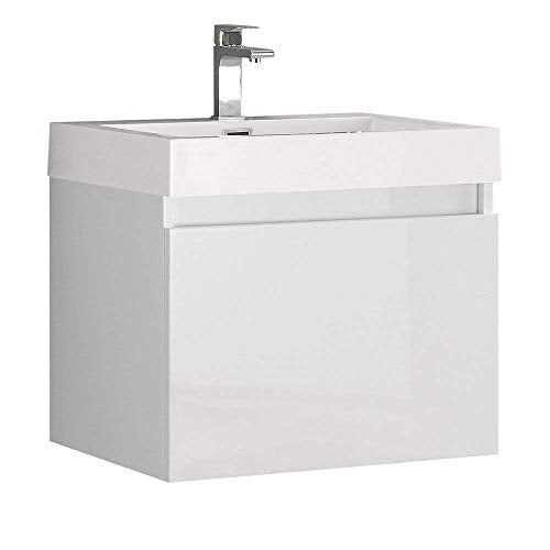Fresca Nano White Modern Bathroom Cabinet with Integrated Sink (Renewed)