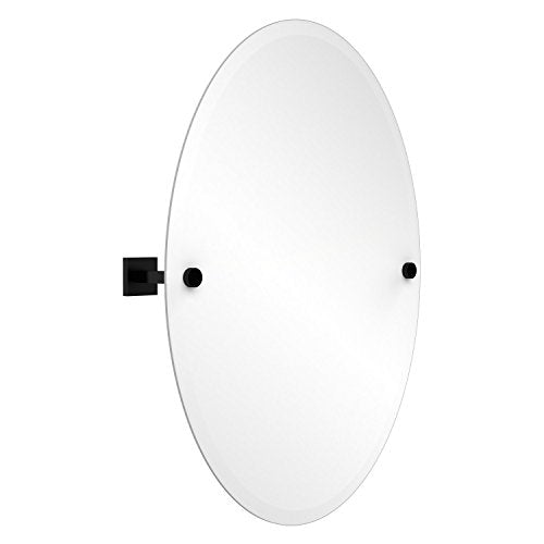 Allied Brass MT-91-BKM Montero Collection Contemporary Frameless Oval Tilt Mirror with Beveled Edge, Matte Black