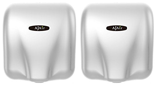 AjAir White<2 Pack>Heavy Duty Commercial 1800 Watts High Speed Automatic Hot Hand Dryer
