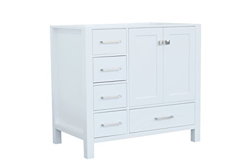"ARIEL Cambridge A037S-R-BC-WHT 36"" Inch Single Right Offset Hard Plywood White Bathroom Vanity Base Cabinet with Two Soft-Closing Doors and Five Self-Closing Drawers"