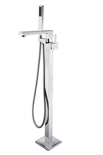 ANZZI Khone 2-Handle Clawfoot Bathtub Freestanding Faucet Filler in Polished Chrome | Modern Design Floor Mount standing Lavatory Faucet with Handheld Sprayer and Valve | FS-AZ0037CH