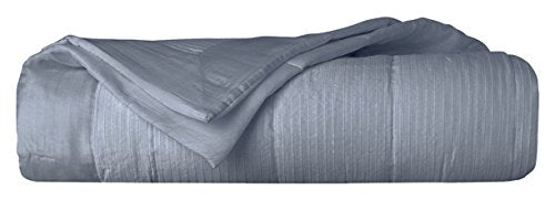 Yves Delorme Voyage Grey Silk Queen Coverlet Tufted Pleated Platine Ribbed Stripe