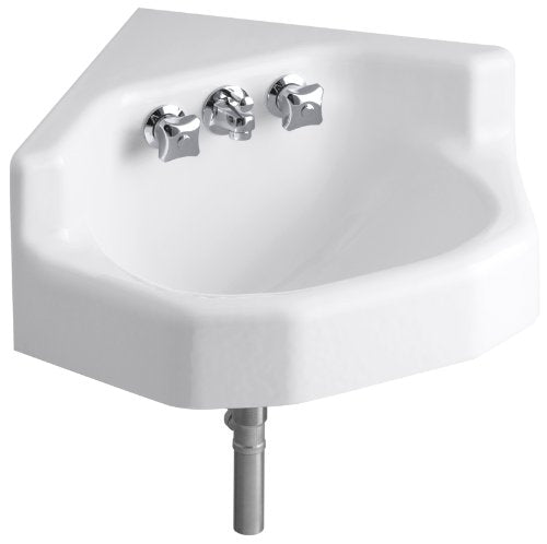 Kohler 2766-0 Cast Iron Wall Mounted Neo-Angle Bathroom Sink, 16 x 16 x 8.5 inches, White