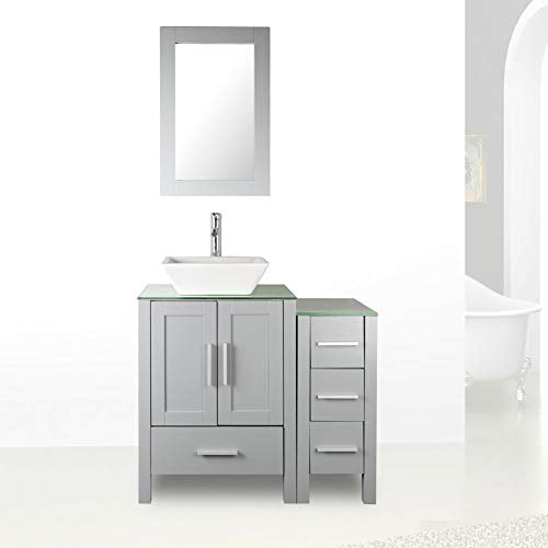 "36"" Grey Paint Bathroom Vanity and Sink Combo Glass Top w/Drawer Side,Sink, Faucet set"
