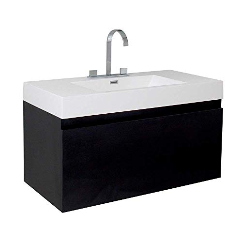 Fresca Mezzo Black Modern Bathroom Cabinet with Integrated Sink (Renewed)