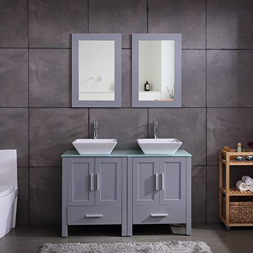 "48"" Double Sink Bathroom Vanity Cabinet Combo Glass Top Grey Paint MDF Wood w/Faucet, Mirror&Drain Set"