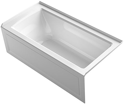 "KOHLER K-1946-RA-0 Alcove Bath with Integral Apron, Tile Flange and Right Hand Drain, 60"" x 30"", White"