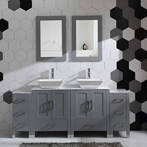 "72"" Bathroom Vanity Cabinet Double Sink Grey Solid Wood w/Marbel Counter Top"