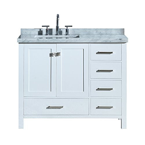 "ARIEL Cambridge A043SLCWRVOWHT 43"" Inch Single Left Offset Rectangular Sink Solid Wood White Bathroom Vanity with 1.5"" Inch Edge Carrara Marble Countertop"