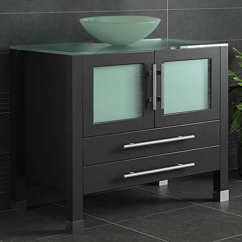 "36"" Espresso Cabinet, Tempered Glass Top and Sink"