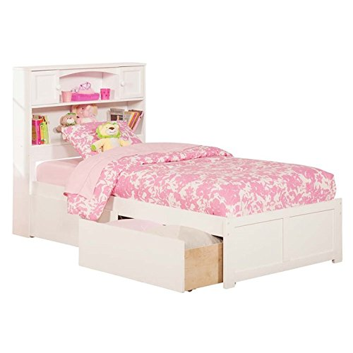 Pemberly Row Twin Storage Platform Bed in White