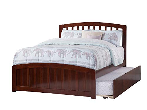 Atlantic Furniture Panel Bed with Foot Board and Urban Trundle Bed (Full - Walnut)