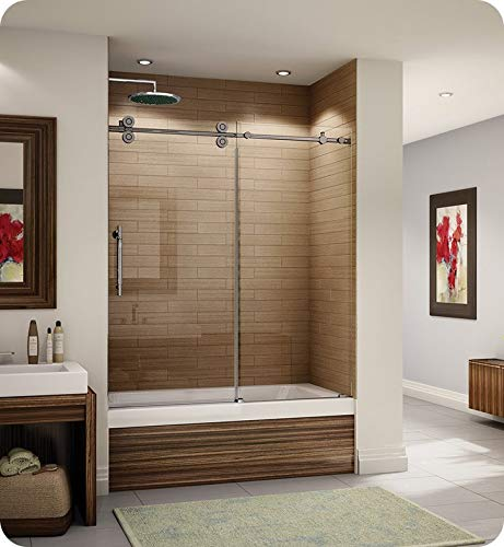 "KT057-11-40L-A Fleurco Kinetik In Line Tub Door and Panel, W 57"" to 60"" x H 66"""
