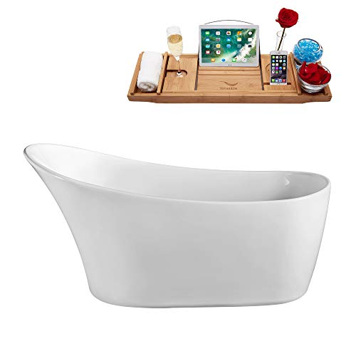 "Streamline | Freestanding Soaking 63"" N-821-63FSWH-FM Acrylic Bathtub, White 