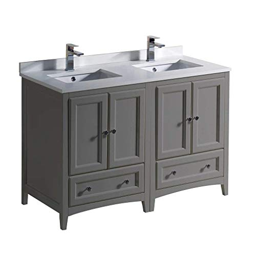 "Fresca FCB20-2424GR-CWH-U Oxford 48"" Gray Traditional Double Sink Bathroom Cabinets with Top & Sinks (Renewed)"