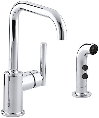 KOHLER K-7511-CP Purist Secondary Swing Spout with Spray, Polished Chrome
