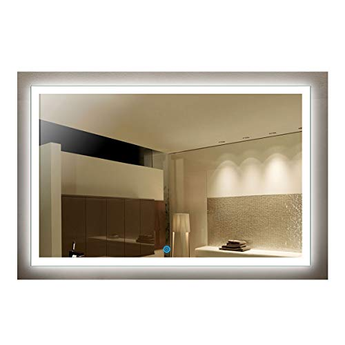 55 x 36 in LED Decorative Bathroom Silvered Mirror with Touch Button (D-N031-C)