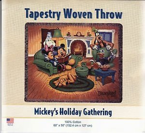 Disney Mickey's Holiday Gathering Tapestry Woven Throw
