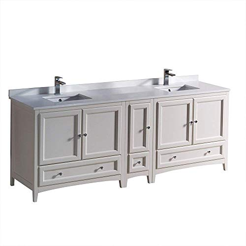"Fresca Oxford 84"" Antique White Traditional Double Sink Bathroom Cabinets with Top and Sinks (Renewed)"