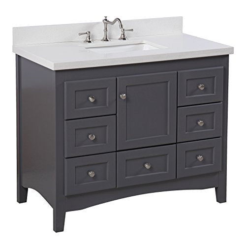 Abbey 42-inch Bathroom Vanity (Quartz/Charcoal Gray): Includes a Charcoal Gray Cabinet, Quartz Countertop, Soft Close Drawers and Doors, and Rectangular Ceramic Sink