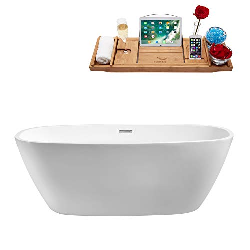"Streamline | Freestanding Soaking 59"" N-700-59FSWH-FM Acrylic Bathtub, White 