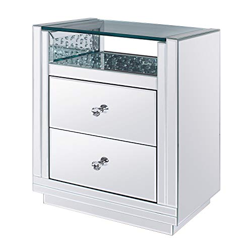 Acme Furniture 26 in. Moderm Night Table in Mirrored
