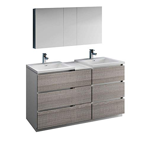 "Fresca Lazzaro 60"" Glossy Ash Gray Free Standing Double Sink Modern Bathroom Vanity w/Medicine Cabinet (Renewed)"