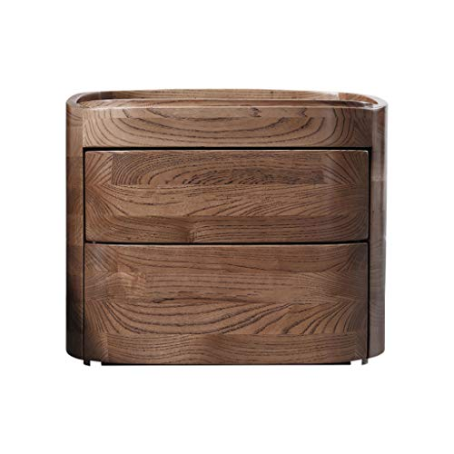 Bedside table Dressing Table Solid Wood Wooden Chest of Drawers Nordic Bedroom Storage Furniture Bedside Cabinet (Color : Brown, Size : 533745cm)