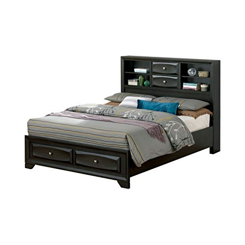 247SHOPATHOME IDF-7555Q Edrina Storage Bed, Queen, Gray