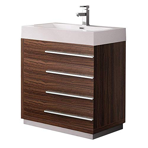 "Fresca Livello 30"" Walnut Modern Bathroom Cabinet with Integrated Sink (Renewed)"