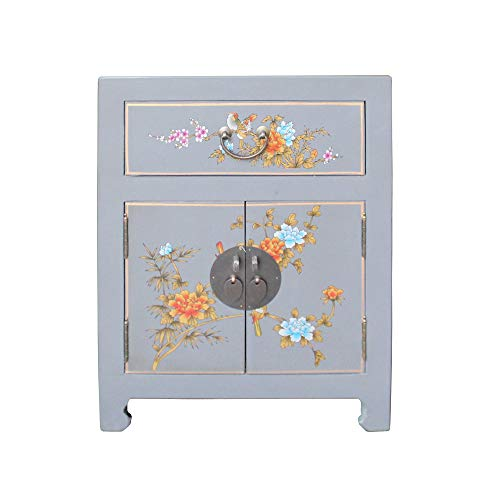 A Small Cabinet Chinese Medium Gray Graphic Vinyl Moon Face End Table Nightstand Acs4931