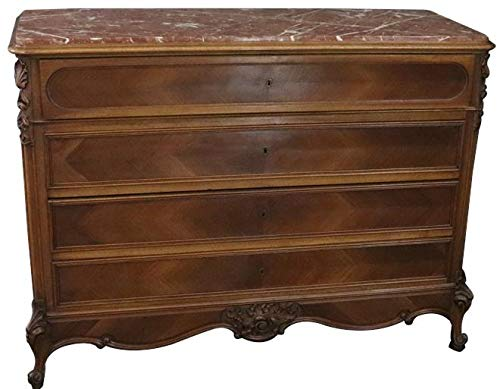EuroLuxHome 1900 Antique Secretary Chest of Drawers French Louis XV Rococo Walnut Marble