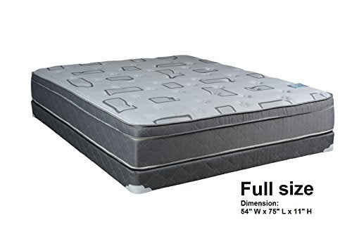 Dream Solutions USA Natural Trophy Medium Plush Eurotop Mattress & Box Spring (Full Size) - Sleep System with Enhanced Foam Encased Support, Fully Assembled, Orthopedic