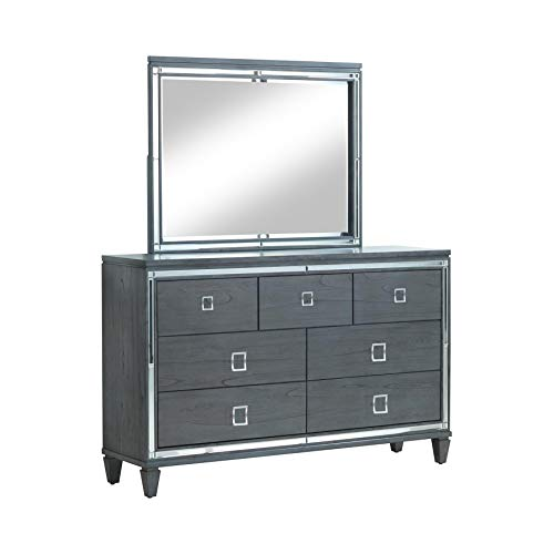 247SHOPATHOME IDF-7971-DM Glentana 2-Piece Dresser and Mirror Set, Gray