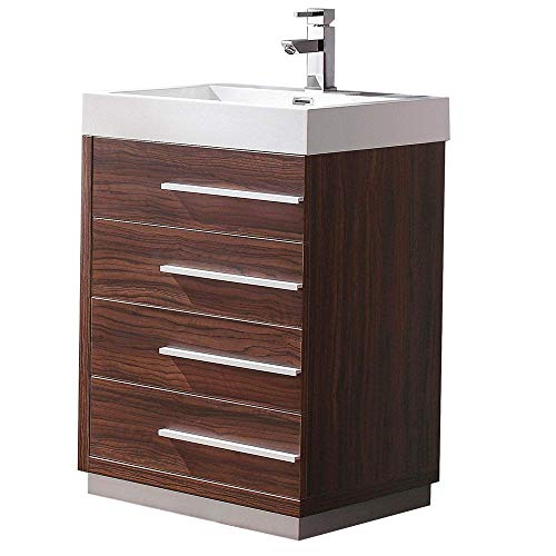 "Fresca Livello 24"" Walnut Modern Bathroom Cabinet with Integrated Sink (Renewed)"