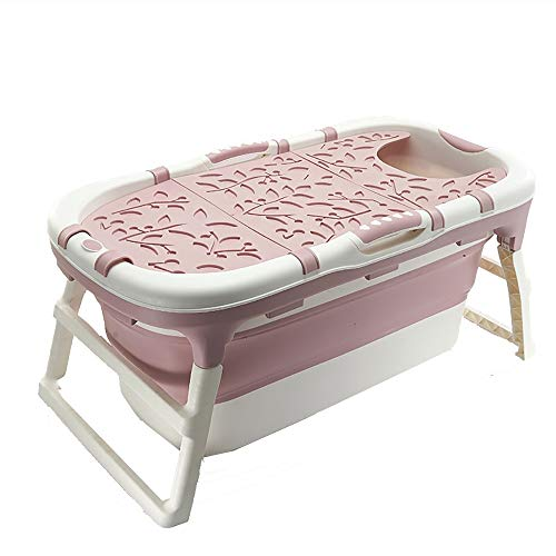 Adult Folding Bathtub Baby Swimming Pool Children Bath Barrel Household Portable Tub,Long Insulation Time with Lid Soaking Bath (Color : Pink, Size : 113x59x53 cm)