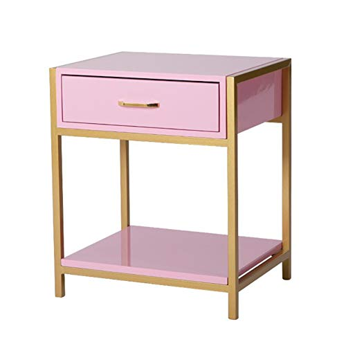 LSS Solid Wood Bedside Table, Simple Bedroom Bedside Small Cabinet Home Simple Furniture Storage Shelf (Color : Pink)
